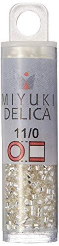 Miyuki DB041- Perline Delica 7,2 g, Misure 11/0, Cristallo con Foro Argentato