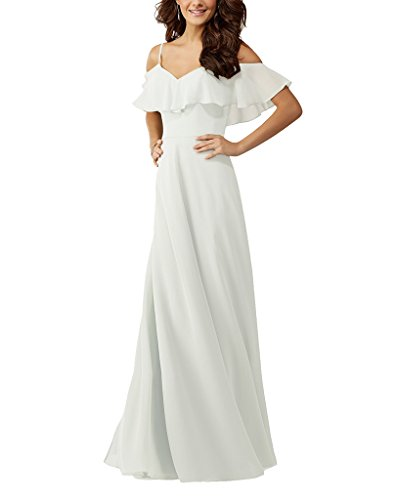 Lafee Bridal Women's Off Shoulder Bridesmaid Dresses Long Ruffles Evening Gown 26W Ivory