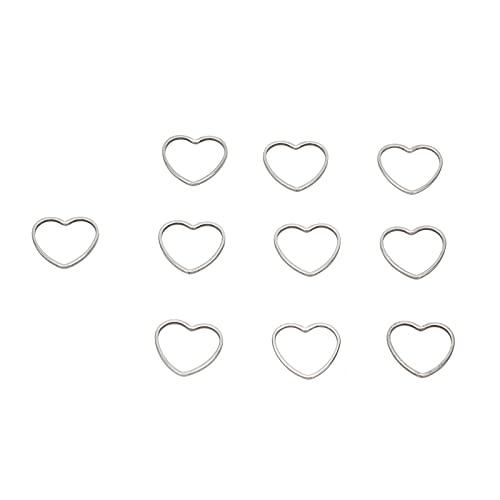 Hztyyier 30Pcs Pendientes Aro de Abalorios, 14 x 15 mm Conectores de aretes con Marco en Forma de corazón para Bricolaje Pendientes, Collar, Pulsera, Artesanía, Fabricación de Joyas