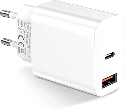 Everdigi 20W Caricatore USB C da Muro, Spina Caricabatteria con Presa USB C e A per iPhone 13 iPhone 12/11/Pro Max/mini/SE 2020, Samsung S21 ecc