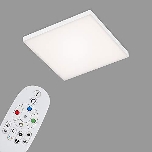 Briloner Leuchten - LED Panel, LED Deckenlampe dimmbar, rahmenlos, Farbtemperatursteuerung, RGB, inkl. Fernbedienung, 16 Watt, 1.800 Lumen, Weiß, 295x295x57mm (LxBxH)