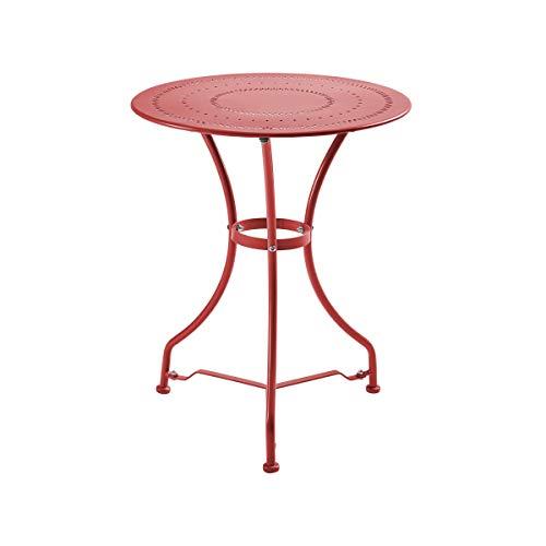 Butlers Century Bistrotisch - roter Tisch aus Eisen - für Garten und Balkon - französischer Stil