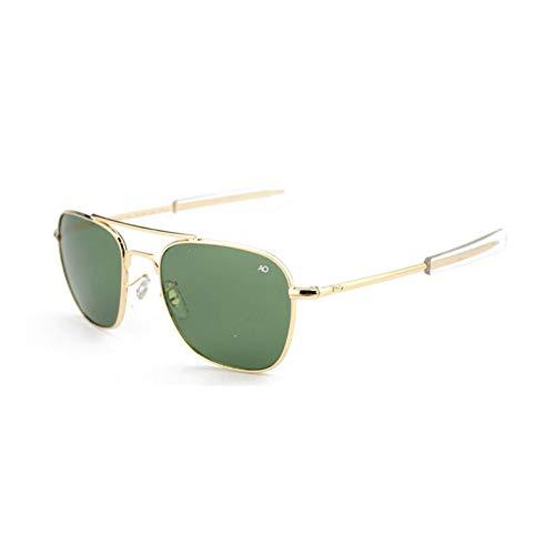 ZRTYJ Gafas de Sol Moda Gafas De Sol De Aviación para Hombres Diseñador De La Marca Ao Gafas De Sol para Hombre Ejército Americano Lente De Vidrio Óptico Militar