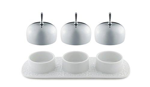 Alessi Dressed Marmeladenschale mit 3 Kammern aus Porzellan, Weiß, 5 x 21.5 x 27 cm, 3-Einheiten
