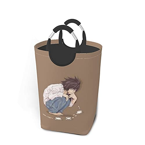 Death Note Anime LawlietDirty - Cesta de lavandería plegable impermeable para viajes, bolsa de ropa, organizador de almacenamiento de 50 l, color negro