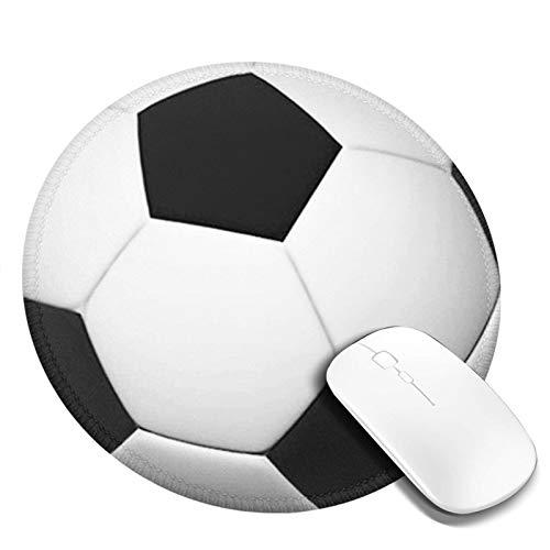 LQKSSLBO Redondo Alfombrilla De Ratón Balón de fútbol, Alfombrilla Gaming, Base De Goma Antideslizante para Gamers, Pc Portátil Mouse Pad, 20cm