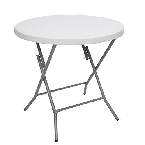 YISHENG 32inch Round Folding Table Outdoor Folding Utility Table White
