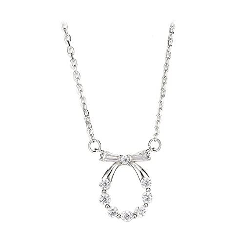 YNING Collar con colgante de lazo de diamante, plata de ley 925, diseño con incrustaciones de diamante, longitud de cadena ajustable, regalo para niñas, novia, buenas amigas, simple y elegante, plata