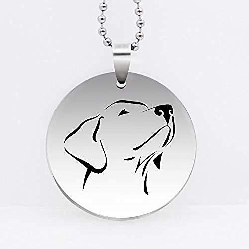 pyongjie Collar con Colgante de Cabeza de Perro de Acero Inoxidable, Collar Encantador de Labrador Retriever, joyería de Animales, Regalo, envío Directo