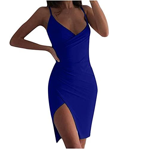 Vestido de verano para mujer, monocolor, cuello en V, cortado, largo, elegante, para playa, fiesta, sexy, casual, cami, vestido de cóctel, vestido envolvente azul S