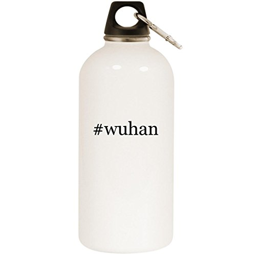 #wuhan - White Hashtag 20oz Stainless Steel Water Bottle with Carabiner