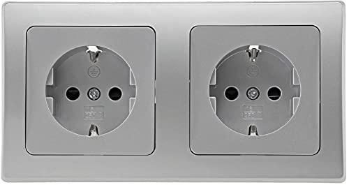 Delphi - Enchufe doble empotrado (2 unidades, 230 V, con protección de contacto, color plateado y gris