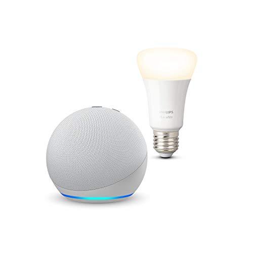 Echo Dot (4ª generazione), Bianco ghiaccio + Philips Hue White Lampadina Connessa (E27), compatibile con Alexa
