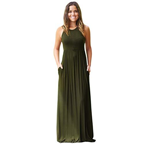 LisAgUlI Womens Dress Casual Solid Sundress with Pockets Loose Hem Skirt Long Maxi Dresses