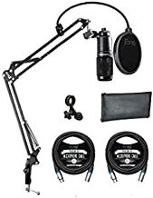 Audio Technica AT2020 Cardioid Condenser Microphone for Project & Home Studio Applications Bundle with Blucoil Boom Arm Plus Pop Filter, and 2-Pack of 10-FT Balanced XLR Cables