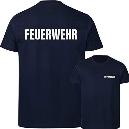 PACOTEX Feuerwehr Premium Herren T-Shirt 220g/m² Workwear Qualität mit beidseitigem, reflektierenden Aufdruck (Marineblau, L)