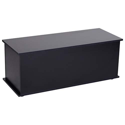 HOMCOM Truhe Aufbewahrungsbox Holzkiste mit klappbarem Deckel Spanplatte Schwarz 100 x 40 x 40cm