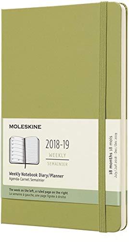 Moleskine Wochen Notizkalender, Taschenkalender, 18 Monate, 2018/2019 Large, A5, Hard Cover, Flechten Grün
