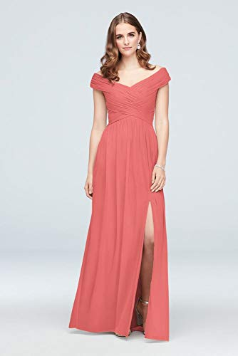 Crisscross Off-The-Shoulder Mesh Bridesmaid Dress Style F19951, Coral Reef, 2