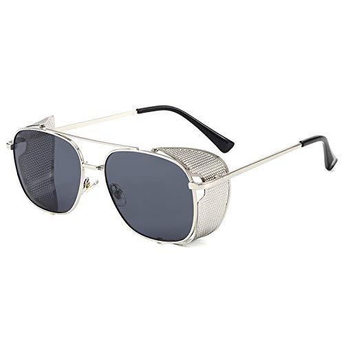 IRCATH Gafas de Sol Punk para Hombre, Gafas de Sol para Mujer, Gafas de Sol cuadradas de Estilo Retro con protección Lateral para Hombre, Gafas de Sol UV400 con Caja-6