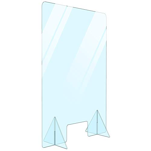 Free Standing Portable Acrylic Protective Divider Plexiglass Desk Shield Sneeze Guard Safety Barrier with Transaction Window for Office, Countertop, Restaurant, Reception Cashier Desk (16' W x 24' H)