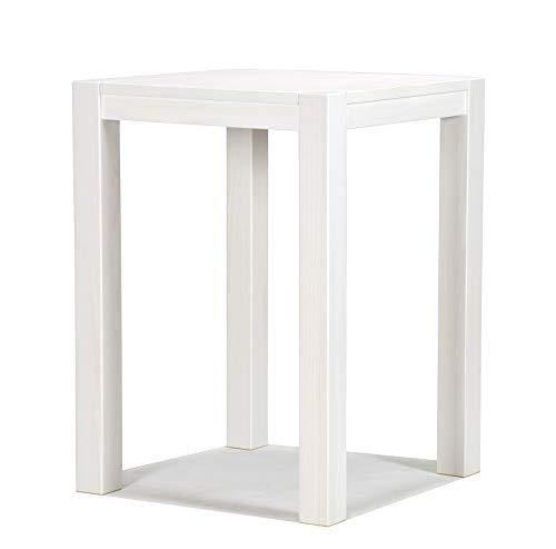 Hochtisch 80x80x110cm Rio Bonito Farbton White Grain Pinie Massivholz Tisch Bartisch Bistrotisch Stehtisch seidenmatt teiltransparent weiss lackiert Kanten im leichten Vintage Used Look