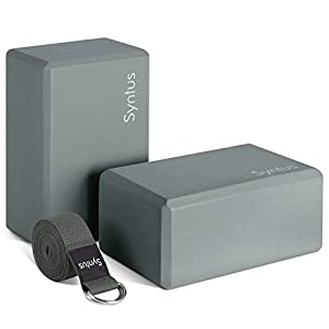Syntus Yoga Block and Yoga Strap Set, Complete with 2 EVA Foam Soft Non-Slip Yoga Blocks, 8FT Metal D-Ring Strap for Yoga,  Stretching and Toning,
