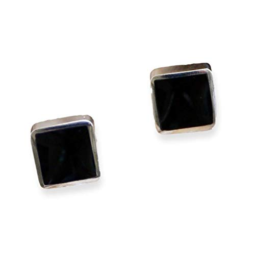 Whitby Jet Silver Stud Earrings Square Design