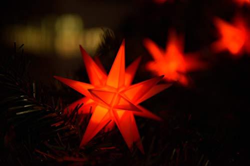 Weihnachtsstern 3D LED Rot 18 Zack 12 cm Batterie Kunststoffstern Dekostern Fensterdeko Weihnachtsdeko Außen Stern beleuchtet