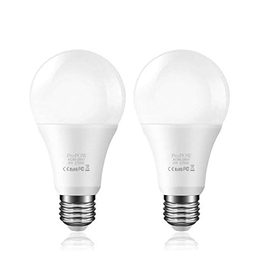 Dusk to Dawn Light Bulb,ProPOW Sensor LED Bulbs Smart Lights Bulb 5W A19 Automatic On/Off, Indoor/Outdoor Lighting Lamp for Porch Garage Driveway Yard Hallway (E26,Soft White,2-Pack)