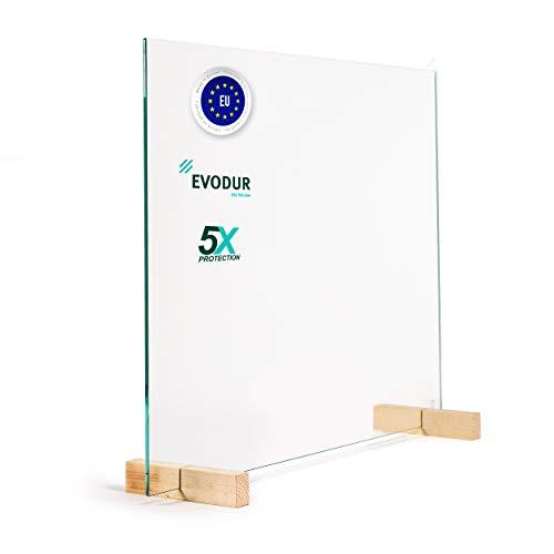 Glas Expert Spuckschutz aus 6mm ESG-Sicherheitsglas, Virenschutz Hustenschutz Niesschutz - Tischaufsatz 60cm Höhe 75cm Breite