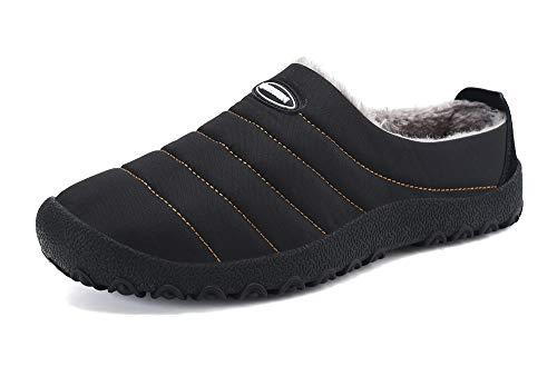 Zapatillas de Estar para Casa Hombre Mujer Invierno Calentitas Zapatillas de Deporte con Suela Antideslizante,Negro,44