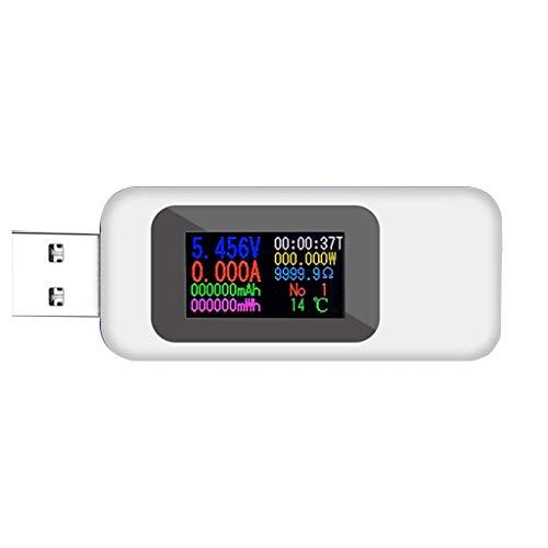 ARCELI KWS-MX18 10 in1 USB-Tester Digital LCD-Display Spannung Stromtester Leistungsmesser Zeitmessung Amperemeter USB-Ladegerät Tester Detektor Voltmeter Meter Weiß