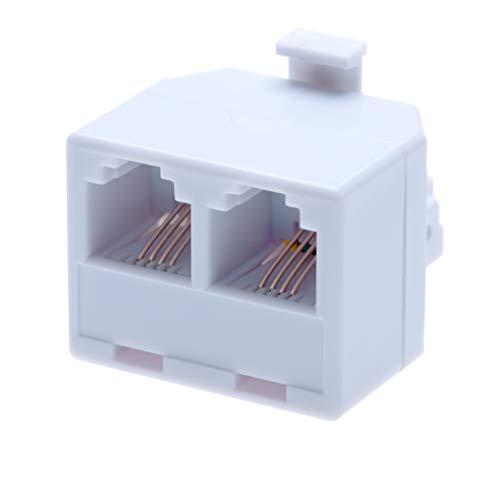 RJ11 Adapter und 2-Wege-Splitter von 2 RJ11 Buchsen auf RJ11 Stecker  Kabel Festnetz Breitband Universal Port Konverter Stecker Extender Telefon Kupplung  4 Draht Konverter   Weiß