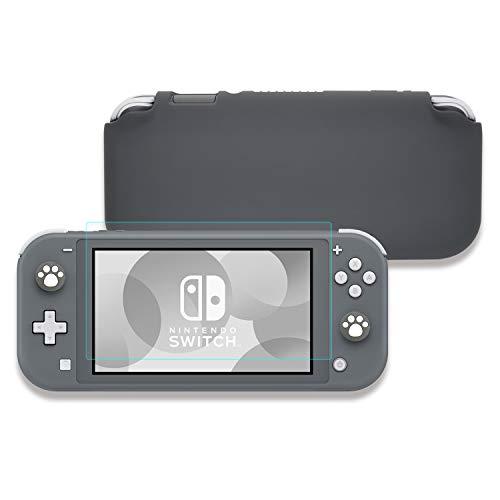 Lammcou Schutz Hülle Set für Nintendo Switch Lite 2019, Flüssigkeit Silikon Switch Lite Case & 9H Panzerglas Displayschutzfolie & Thumb Grip Kappen für Nintendo Switch Lite Case - Grau