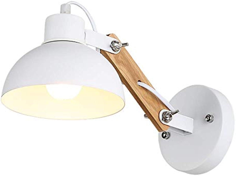 GONGFF Amerikanischen Stil Retro Nordic Einfache Kreative Drehbare Eisen Kunst Wandleuchte Licht Dekoration Wohnzimmer Schlafzimmer Nachttischlampe, Wei