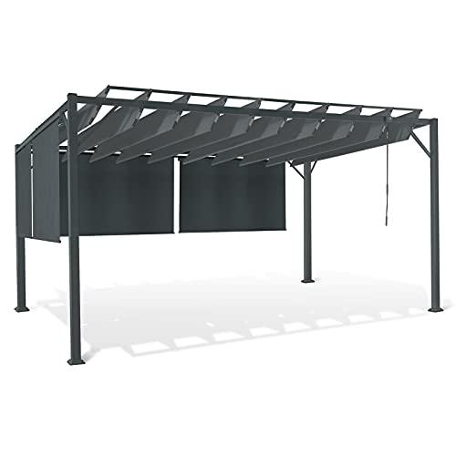 IDMarket - Pergola Luxe Lames orientables CEFALU 3x4M 4 Stores Gris Anthracite