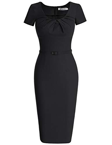 MUXXN Women's Retro 1940s Style Scoop Neck Belt Waist Bodycon Dress (S Black)