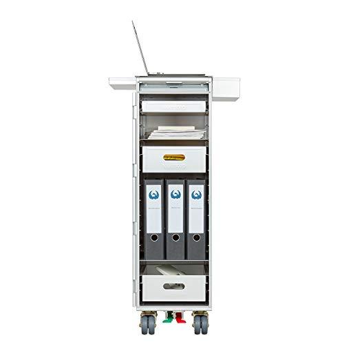 VanDeBord Ausstattungspaket Büro & Homeoffice, Zubehör für Airline Trolleys, Büro-Rollcontainer, Home-Office (Aluminium, Atlas + 2X Sidebox)