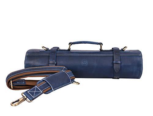 Leather Knife Roll Storage Bag, Elastic and Expandable 10 Pockets, Adjustable/Detachable Shoulder Strap, Travel-Friendly Chef Knife Case (Royal Blue, Leather)