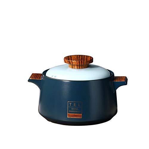 Sopera de cerámica Olla redonda de cerámica Cazuela de cocina / Olla de barro / Olla de barro / Olla de estofado Utensilios de cocina de cerámica con tapa Resistente al calor (3L, azul)