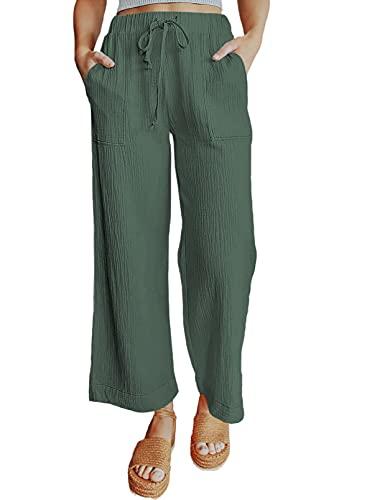 CORAFRITZ Pantalones de mujer con cordón de cintura alta, bolsillos ligeros, pierna ancha, color sólido, ajuste holgado, pantalones de mujer