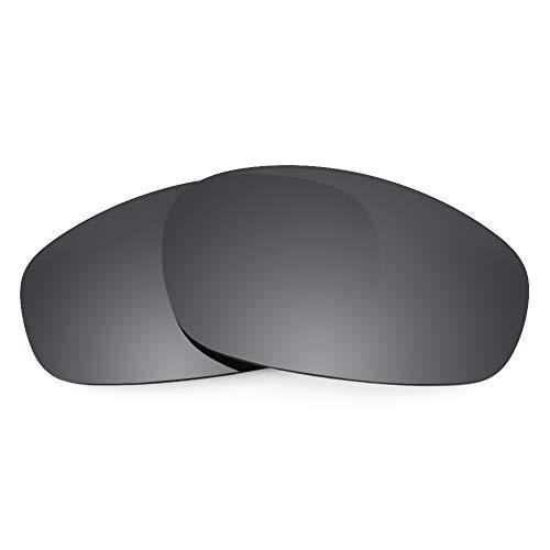 Revant Verres de Rechange Compatibles avec Oakley Wind Jacket, Polarisés, Chrome Noir MirrorShield