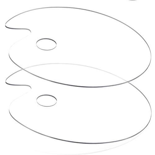 2 Pcs Clear Acrylic Paint Palette 11.8 x 7.9 Inches,Oval Art Palette Watercolor Gouache Oil Paint Mixing Palette Easy Clean Plastic Paint Tray Pallette for DIY Art Craft Painting