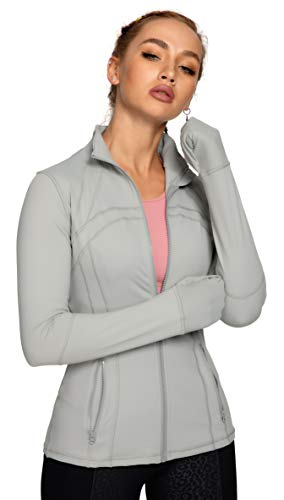 QUEENIEKE Damen Sport definieren Jacke Slim Fit Cottony-Soft Handfeel Farbe Kühles Grau Größe XXL(16)