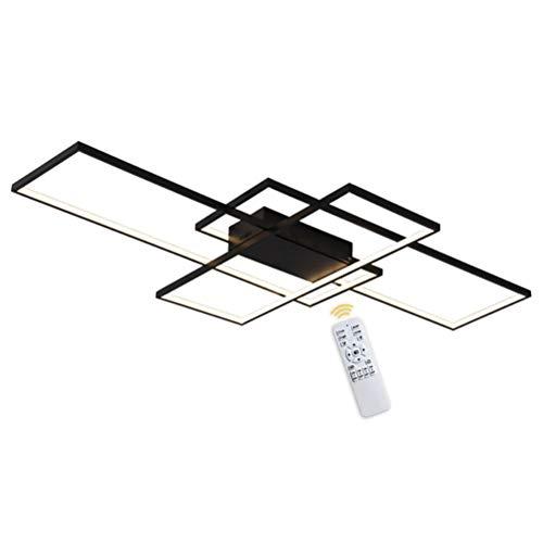 Wohnzimmerlampe Modern 115W LED Decke Dimmbar Acryl Lampenschirm Deckenleuchte schwarz Chic Eckig Designer-Lampe Esstischlampe Mit Fernbedienung Deckenlampe für Pendelleuchte Küche Flur Leuchten,140cm