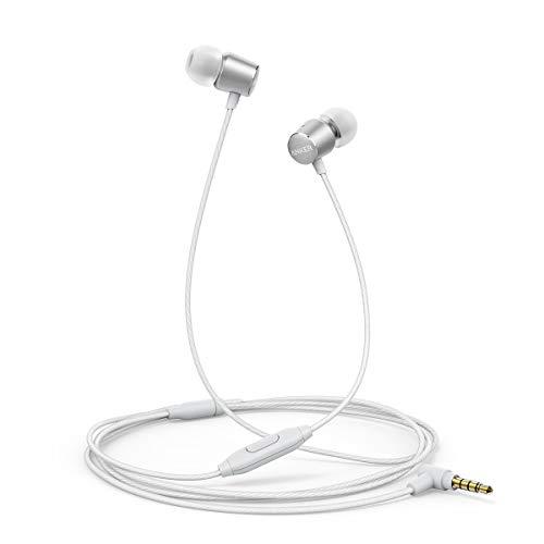 Kopfhörer Anker SoundBuds Verve in-Ear Kopfhörer Kabelgebunden mit Mic/Bass/physikalischer Geräuschreduzierung/3,5mm Klinkenbuchse für iPhone/iPad/Samsung Smartphones, Tablets, PC usw.(Silber)