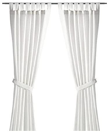 Ikea Lenda - Tenda con bracciale, a 2 teli, 140 x 300 cm, colore: Bianco sbiancato