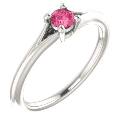925 Sterling Silver Simulated Pink Tourmaline Polished Youth Ring Size M 1/2 Jewelry Gifts for Women