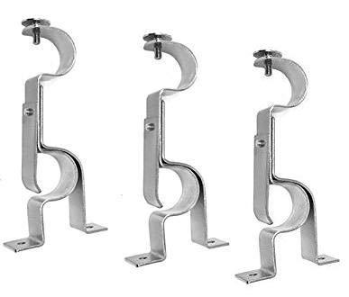 TEJATAN Double Curtain Rod Brackets (Set of 3, Silver)